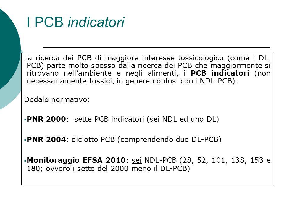 I PCB indicatori La ricerca dei PCB di maggiore interesse tossicologico (come i DL- PCB) parte molto spesso dalla ricerca dei PCB che maggiormente si