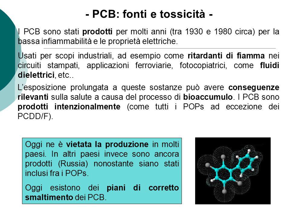 - PCB: fonti e tossicità - L'esposizione prolungata a queste sostanze può avere conseguenze rilevanti sulla salute a causa del processo di bioaccumulo
