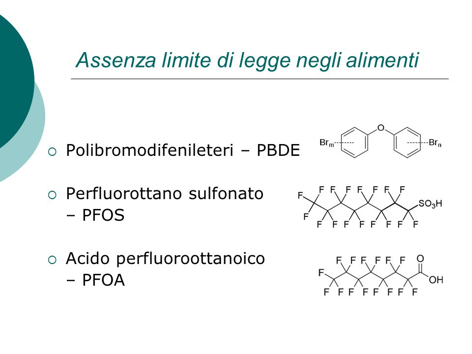 Assenza limite di legge negli alimenti  Polibromodifenileteri – PBDE  Perfluorottano sulfonato – PFOS  Acido perfluoroottanoico – PFOA