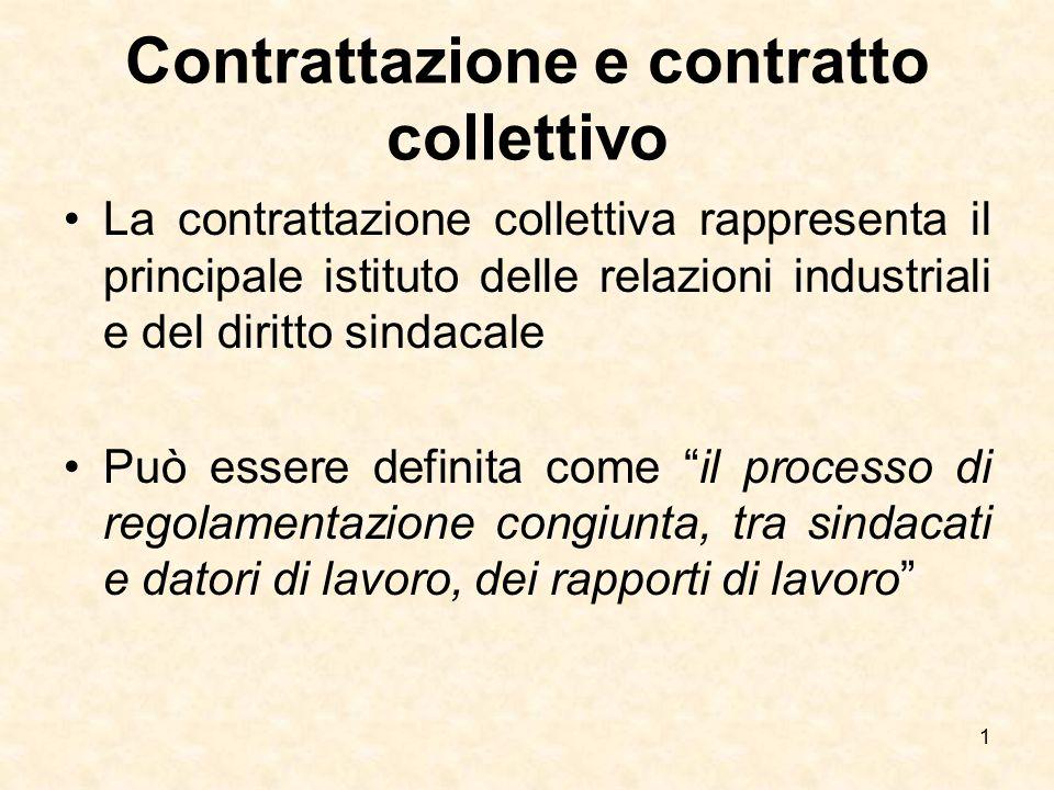 Contrattazione e contratto collettivo La contrattazione collettiva rappresenta il principale istituto delle relazioni industriali e del diritto sindac
