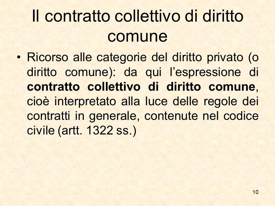 Il contratto collettivo di diritto comune Ricorso alle categorie del diritto privato (o diritto comune): da qui l'espressione di contratto collettivo