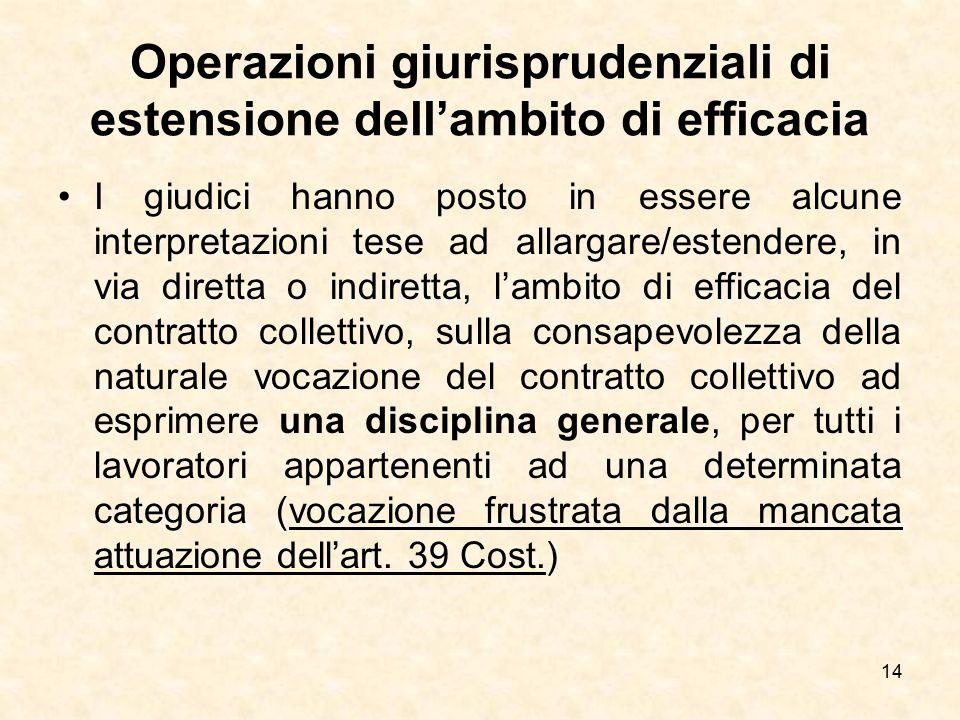 Operazioni giurisprudenziali di estensione dell'ambito di efficacia I giudici hanno posto in essere alcune interpretazioni tese ad allargare/estendere