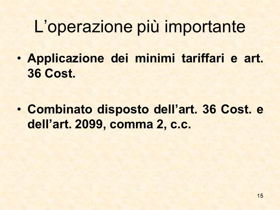 L'operazione più importante Applicazione dei minimi tariffari e art. 36 Cost. Combinato disposto dell'art. 36 Cost. e dell'art. 2099, comma 2, c.c. 15