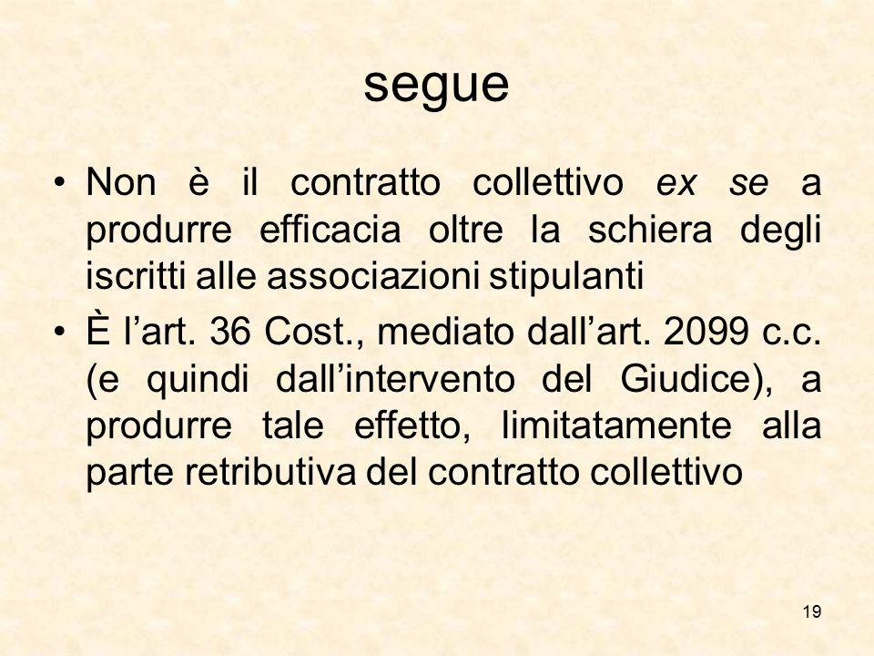 segue Non è il contratto collettivo ex se a produrre efficacia oltre la schiera degli iscritti alle associazioni stipulanti È l'art. 36 Cost., mediato