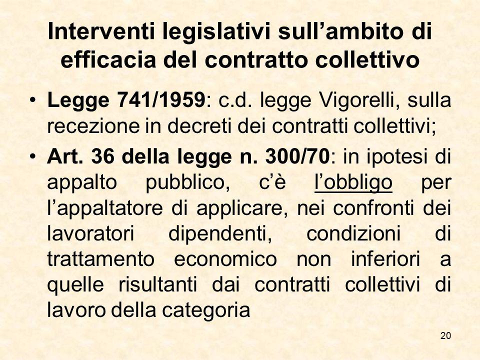 Interventi legislativi sull'ambito di efficacia del contratto collettivo Legge 741/1959: c.d. legge Vigorelli, sulla recezione in decreti dei contratt
