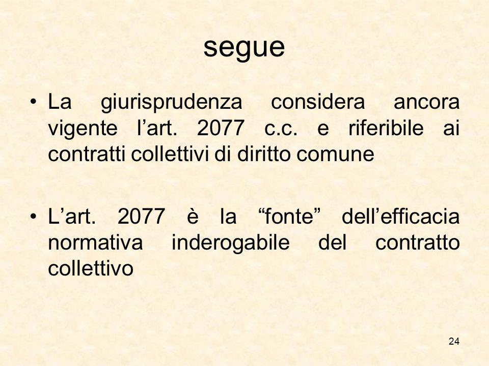 """segue La giurisprudenza considera ancora vigente l'art. 2077 c.c. e riferibile ai contratti collettivi di diritto comune L'art. 2077 è la """"fonte"""" dell"""