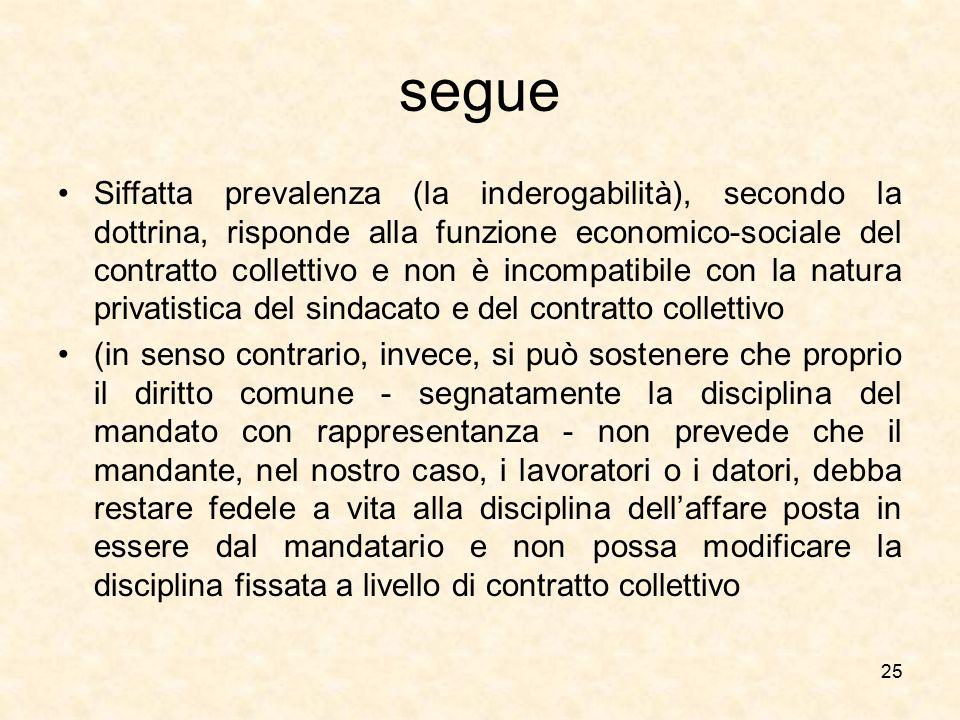 segue Siffatta prevalenza (la inderogabilità), secondo la dottrina, risponde alla funzione economico-sociale del contratto collettivo e non è incompat