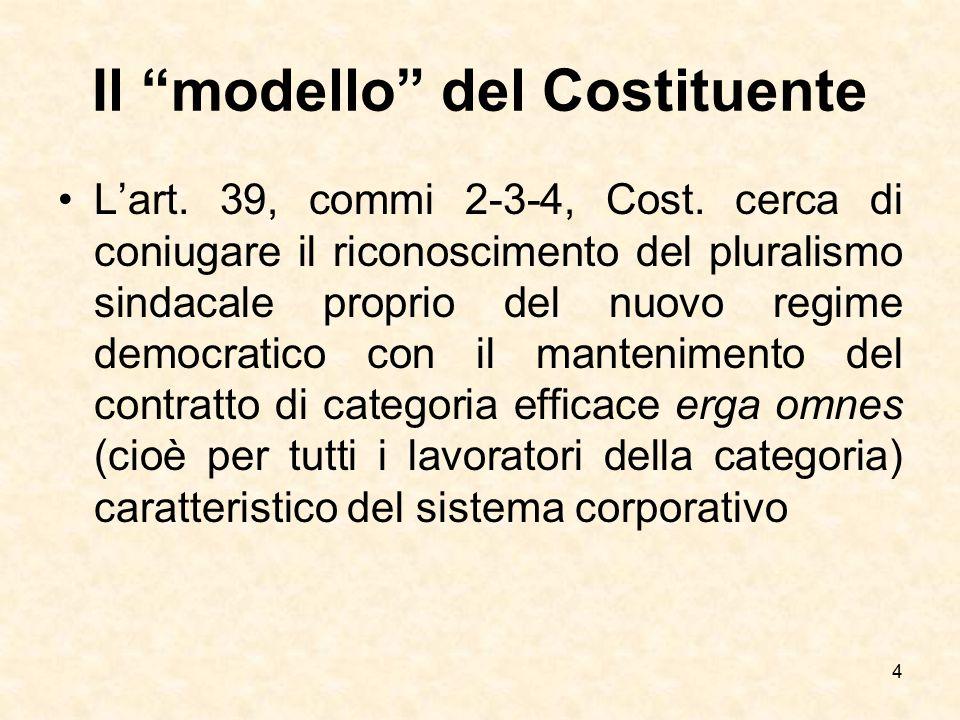 """Il """"modello"""" del Costituente L'art. 39, commi 2-3-4, Cost. cerca di coniugare il riconoscimento del pluralismo sindacale proprio del nuovo regime demo"""