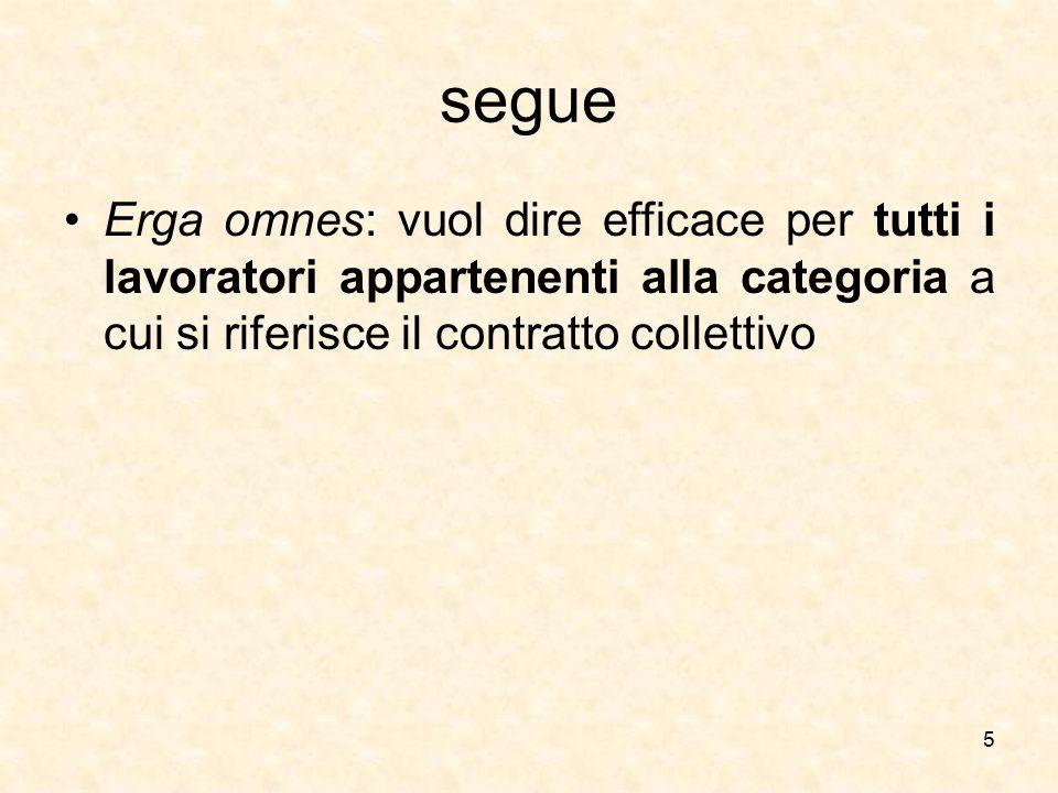 segue Erga omnes: vuol dire efficace per tutti i lavoratori appartenenti alla categoria a cui si riferisce il contratto collettivo 5