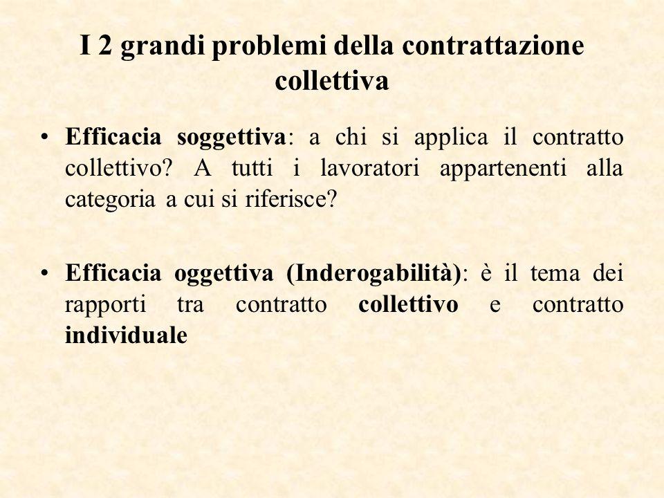 I 2 grandi problemi della contrattazione collettiva Efficacia soggettiva: a chi si applica il contratto collettivo? A tutti i lavoratori appartenenti