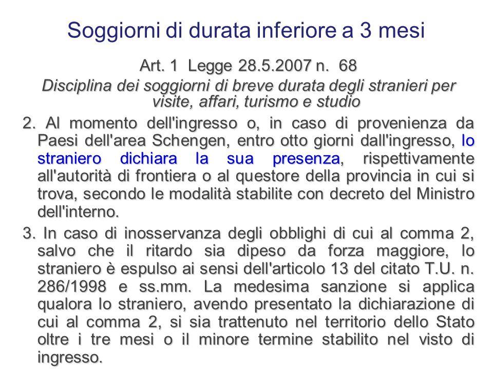 Soggiorni di durata inferiore a 3 mesi Art. 1 Legge 28.5.2007 n. 68 Disciplina dei soggiorni di breve durata degli stranieri per visite, affari, turis