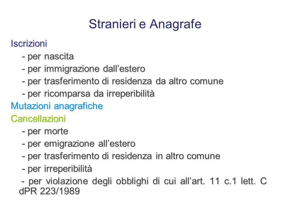 Perciò, ai fini anagrafici … La regolarità del soggiorno deve essere valutata distintamente per gli stranieri: già iscritti in anagrafe già iscritti i