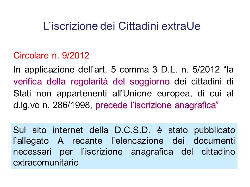 Art. 5, comma 3 del D.L. n. 5/2012 articoli 5 e 6 del testo unico di cui al decreto legislativo 25 luglio 1998, n. 286 Fermo quanto previsto dagli art