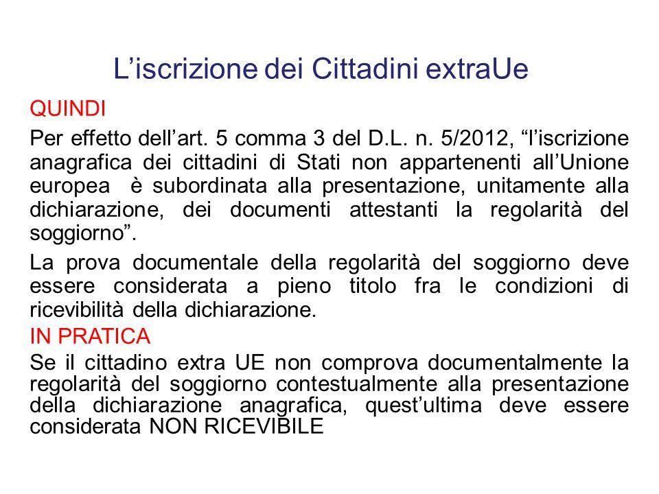 """Circolare n. 9/2012 verifica della regolarità del soggiorno precede l'iscrizione anagrafica In applicazione dell'art. 5 comma 3 D.L. n. 5/2012 """"la ver"""