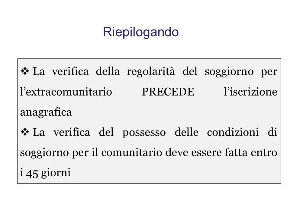 """QUINDI Per effetto dell'art. 5 comma 3 del D.L. n. 5/2012, """"l'iscrizione anagrafica dei cittadini di Stati non appartenenti all'Unione europea è subor"""