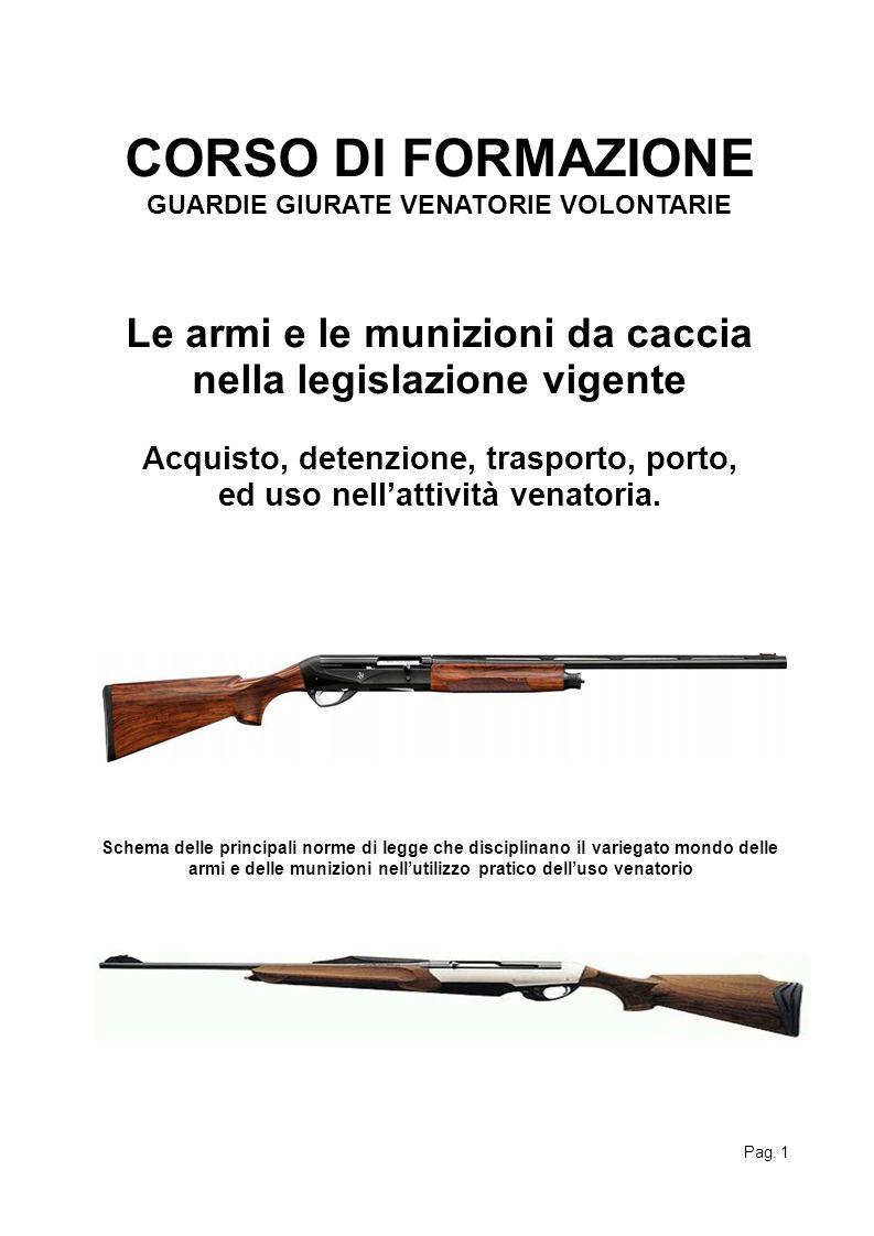 CORSO DI FORMAZIONE GUARDIE GIURATE VENATORIE VOLONTARIE Le armi e le munizioni da caccia nella legislazione vigente Acquisto, detenzione, trasporto,