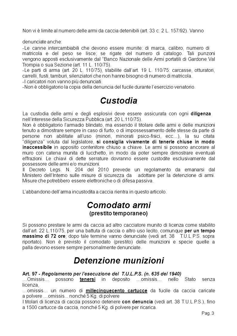 Pag. 3 Non vi è limite al numero delle armi da caccia detenibili (art. 33 c. 2 L. 157/92). Vanno denunciate anche: -Le canne intercambiabili che devon