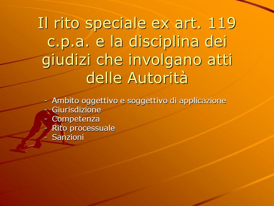 Il rito speciale ex art.119 c.p.a.