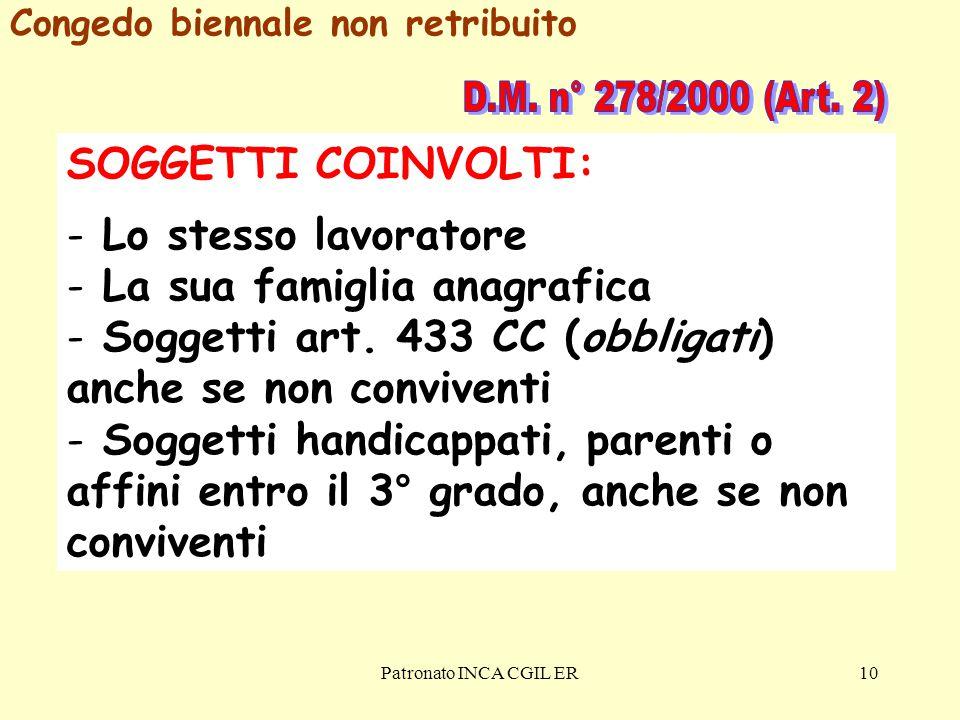 Patronato INCA CGIL ER10 SOGGETTI COINVOLTI: - Lo stesso lavoratore - La sua famiglia anagrafica - Soggetti art.