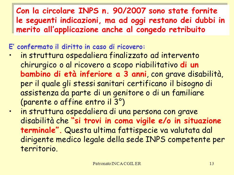 Patronato INCA CGIL ER13 Con la circolare INPS n.