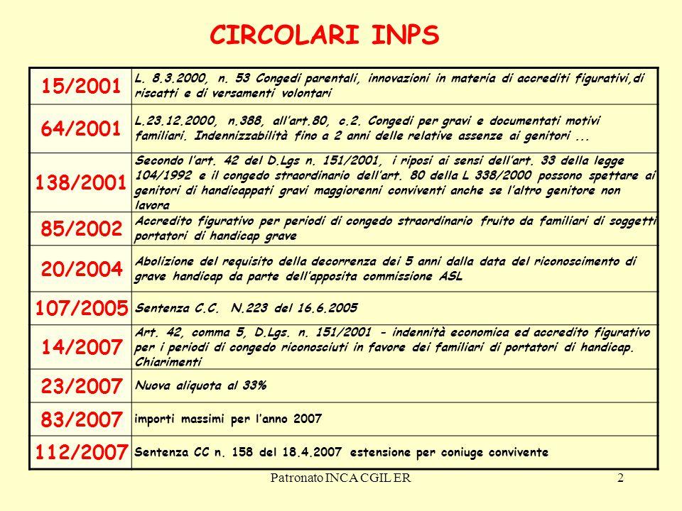 Patronato INCA CGIL ER43 Congedo straordinario per handicap grave L'INPS fece riserva di applicazione su quel punto e solo oggi, dopo il parere del Ministero del Lavoro e del Ministero dell'Economia, e dopo oltre 6 anni, arriva il chiarimento.