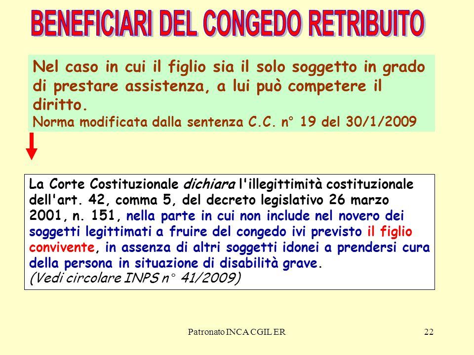 Patronato INCA CGIL ER22 La Corte Costituzionale dichiara l illegittimità costituzionale dell art.