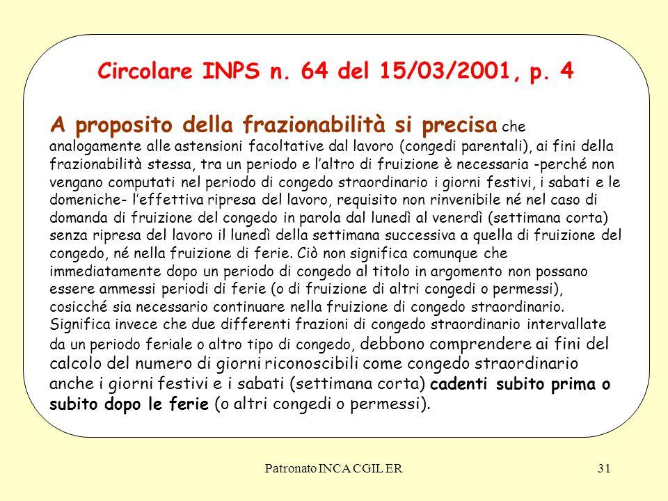 Patronato INCA CGIL ER31 Circolare INPS n.64 del 15/03/2001, p.