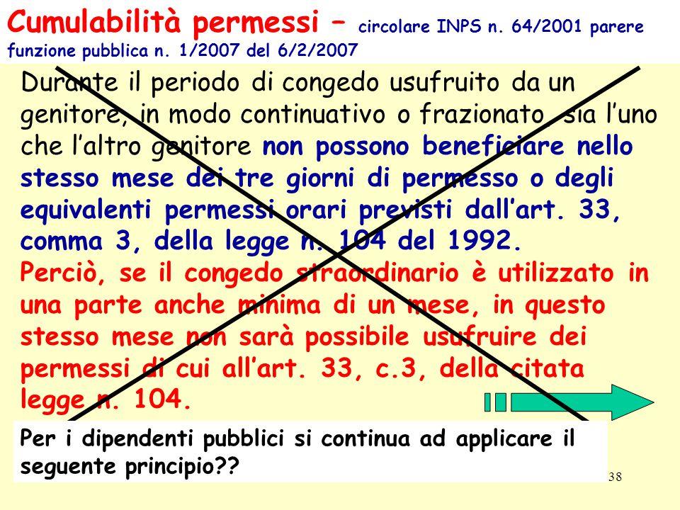 Patronato INCA CGIL ER38 Cumulabilità permessi – circolare INPS n.