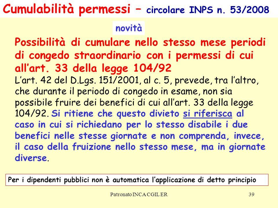 Patronato INCA CGIL ER39 Cumulabilità permessi – circolare INPS n.
