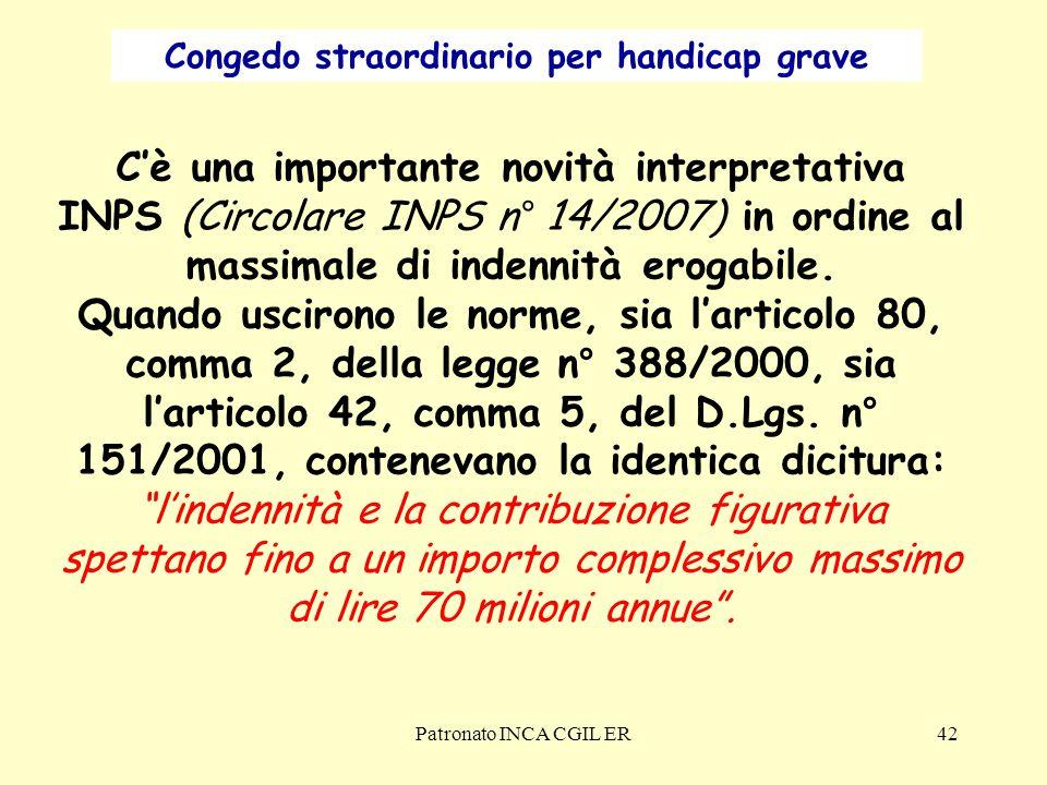 Patronato INCA CGIL ER42 C'è una importante novità interpretativa INPS (Circolare INPS n° 14/2007) in ordine al massimale di indennità erogabile.