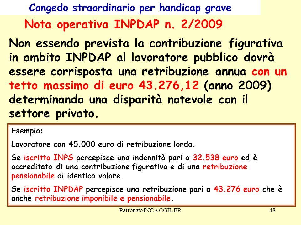 Patronato INCA CGIL ER48 Congedo straordinario per handicap grave Nota operativa INPDAP n.
