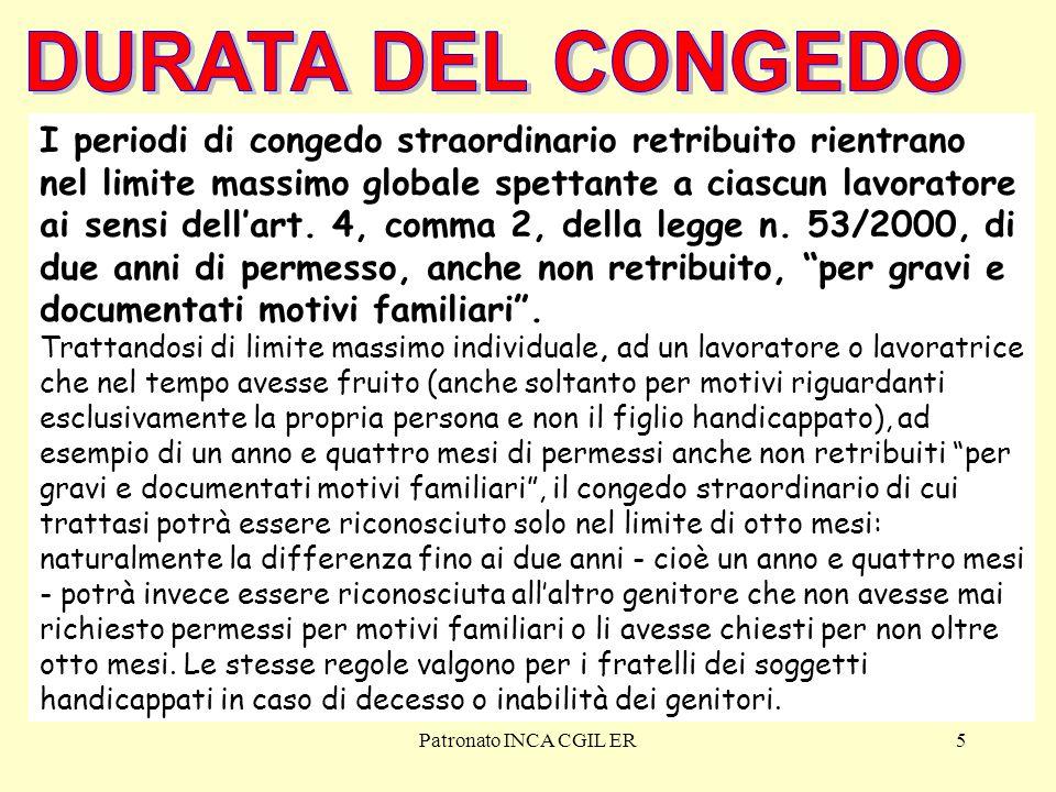 Patronato INCA CGIL ER36 LAVORATORI PUBBLICI DOMANDA L'amministrazione deve riconoscere il congedo straordinario entro 60 giorni dalla richiesta (art.