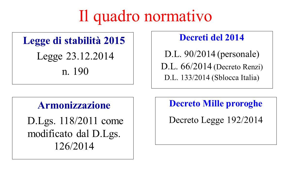 Il quadro normativo Legge di stabilità 2015 Legge 23.12.2014 n. 190 Decreto Mille proroghe Decreto Legge 192/2014 Armonizzazione D.Lgs. 118/2011 come