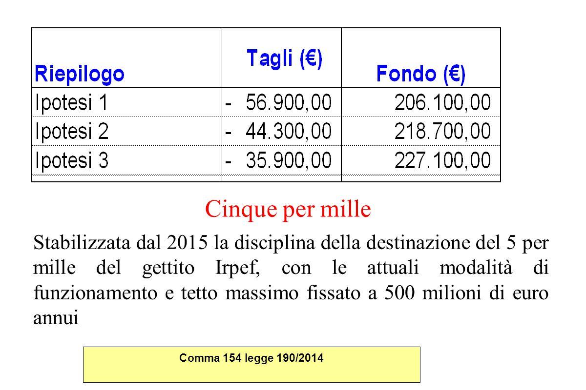 Cinque per mille Stabilizzata dal 2015 la disciplina della destinazione del 5 per mille del gettito Irpef, con le attuali modalità di funzionamento e tetto massimo fissato a 500 milioni di euro annui Comma 154 legge 190/2014