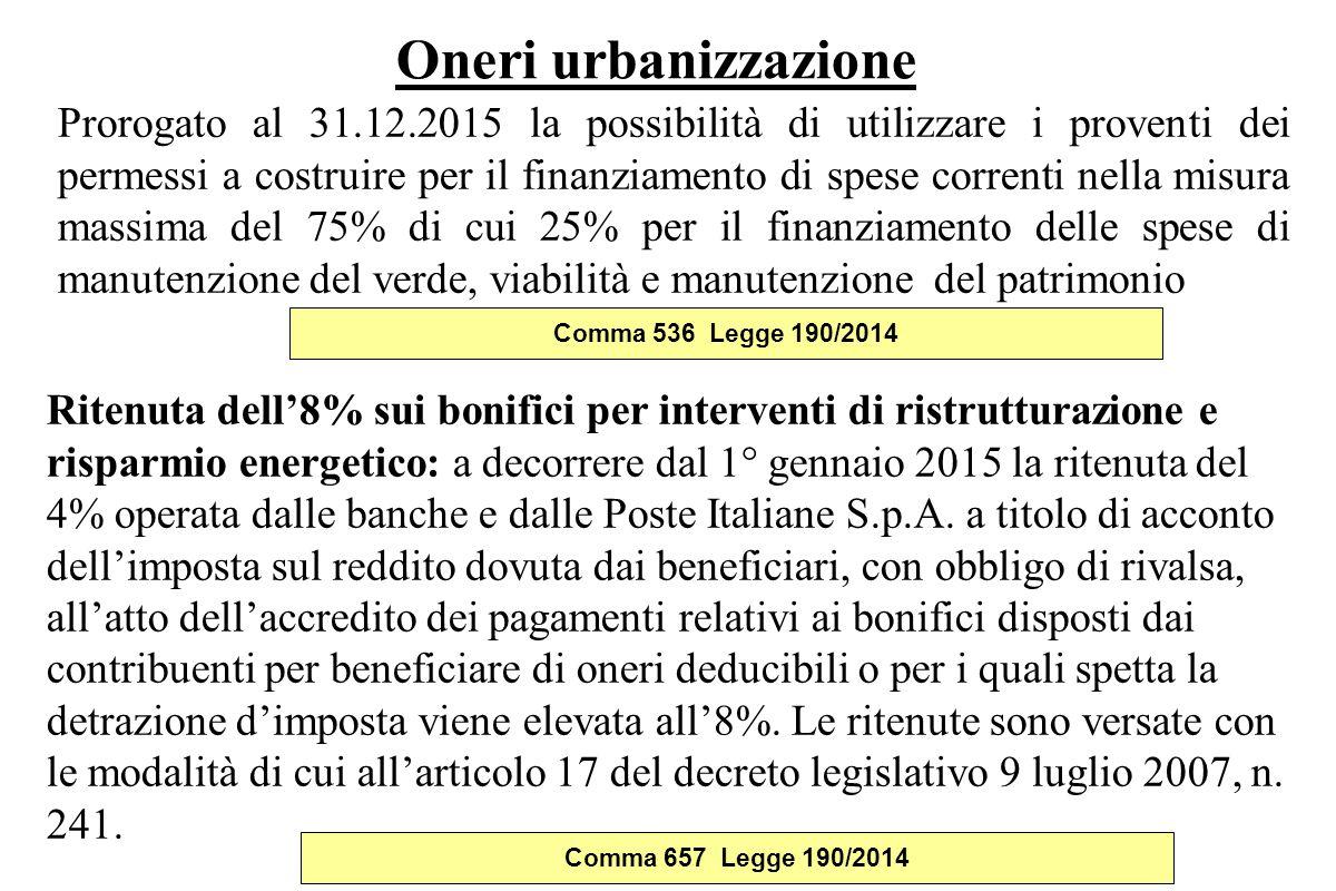 Oneri urbanizzazione Prorogato al 31.12.2015 la possibilità di utilizzare i proventi dei permessi a costruire per il finanziamento di spese correnti n
