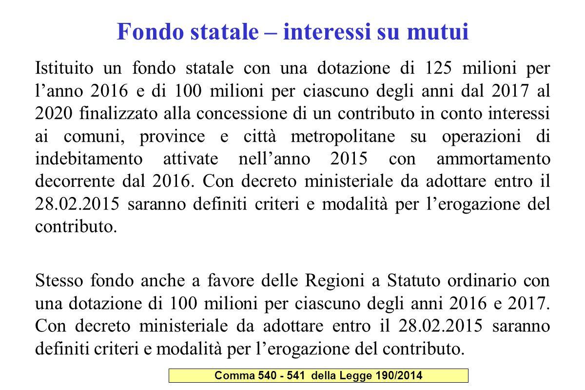 Fondo statale – interessi su mutui Istituito un fondo statale con una dotazione di 125 milioni per l'anno 2016 e di 100 milioni per ciascuno degli ann