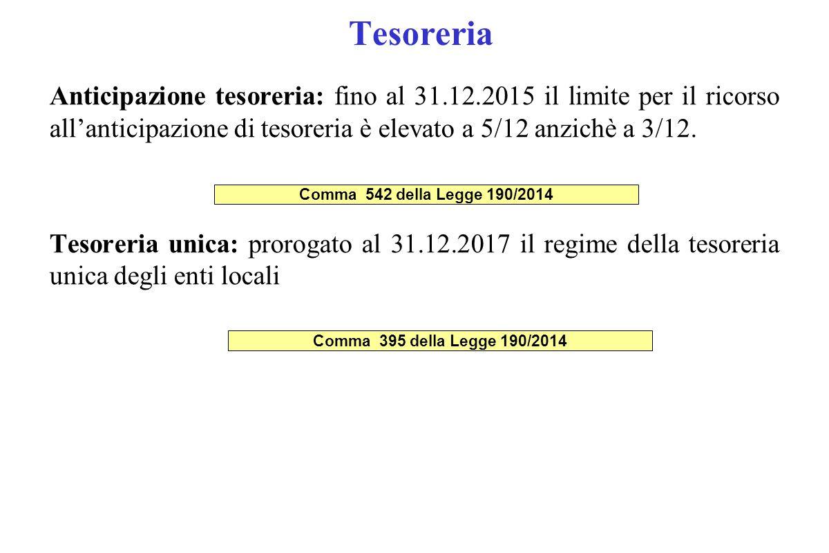 Tesoreria Anticipazione tesoreria: fino al 31.12.2015 il limite per il ricorso all'anticipazione di tesoreria è elevato a 5/12 anzichè a 3/12. Tesorer