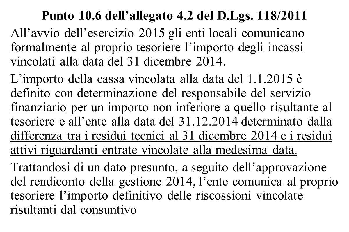 Punto 10.6 dell'allegato 4.2 del D.Lgs. 118/2011 All'avvio dell'esercizio 2015 gli enti locali comunicano formalmente al proprio tesoriere l'importo d