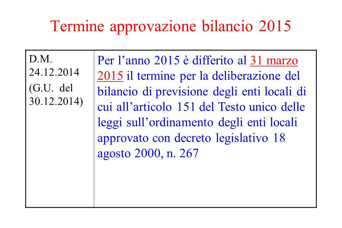 Termine approvazione bilancio 2015 D.M. 24.12.2014 (G.U. del 30.12.2014) Per l'anno 2015 è differito al 31 marzo 2015 il termine per la deliberazione