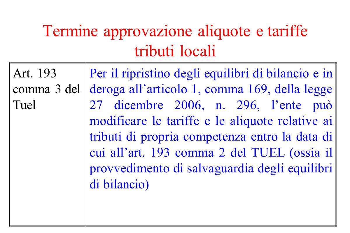 Termine approvazione aliquote e tariffe tributi locali Art. 193 comma 3 del Tuel Per il ripristino degli equilibri di bilancio e in deroga all'articol