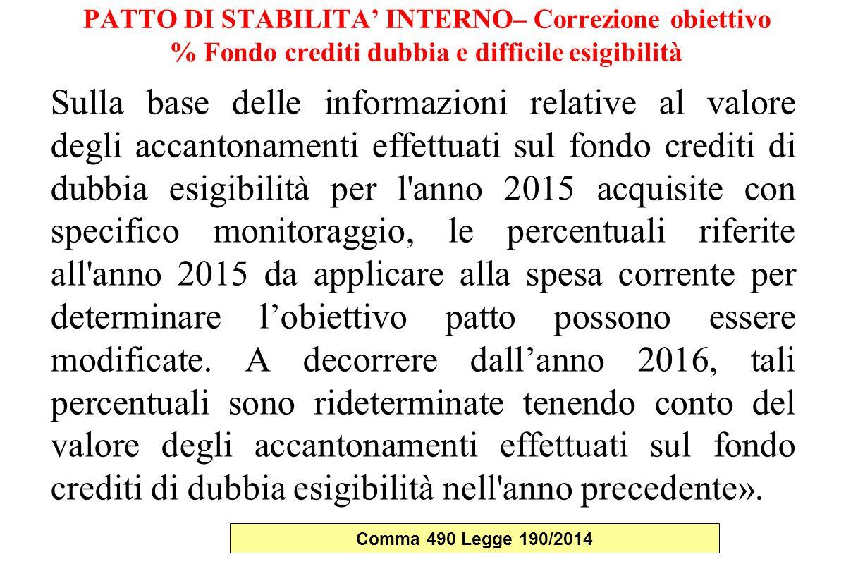 PATTO DI STABILITA' INTERNO– Correzione obiettivo % Fondo crediti dubbia e difficile esigibilità Sulla base delle informazioni relative al valore degl