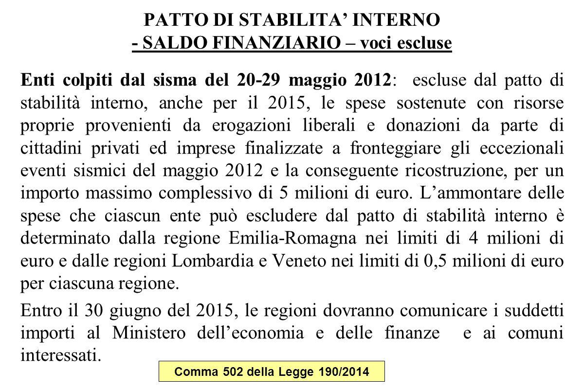 PATTO DI STABILITA' INTERNO - SALDO FINANZIARIO – voci escluse Enti colpiti dal sisma del 20-29 maggio 2012: escluse dal patto di stabilità interno, a