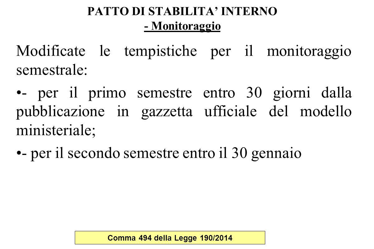 PATTO DI STABILITA' INTERNO - Monitoraggio Modificate le tempistiche per il monitoraggio semestrale: - per il primo semestre entro 30 giorni dalla pub