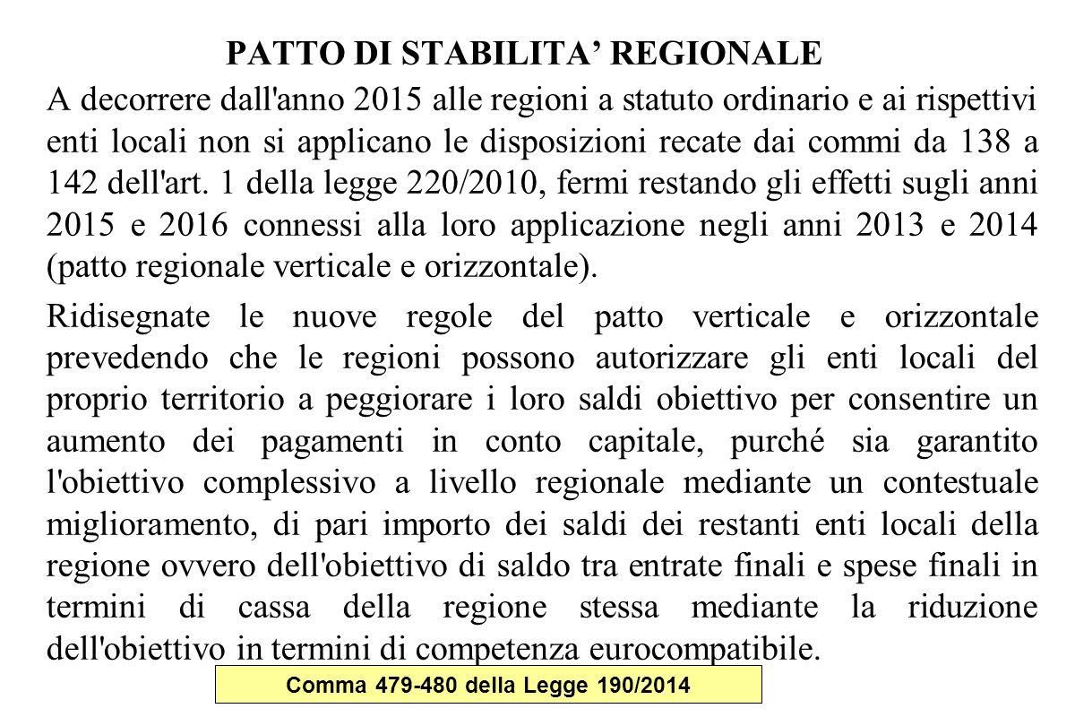 PATTO DI STABILITA' REGIONALE A decorrere dall anno 2015 alle regioni a statuto ordinario e ai rispettivi enti locali non si applicano le disposizioni recate dai commi da 138 a 142 dell art.