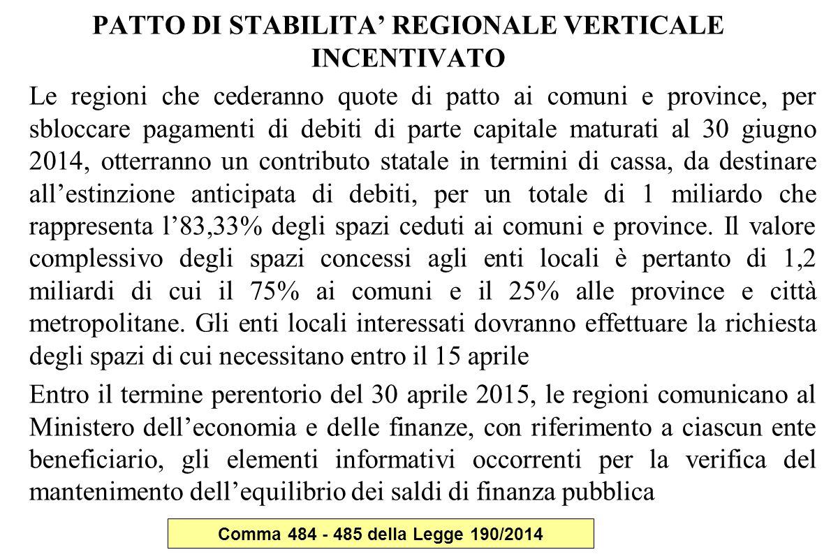 PATTO DI STABILITA' REGIONALE VERTICALE INCENTIVATO Le regioni che cederanno quote di patto ai comuni e province, per sbloccare pagamenti di debiti di parte capitale maturati al 30 giugno 2014, otterranno un contributo statale in termini di cassa, da destinare all'estinzione anticipata di debiti, per un totale di 1 miliardo che rappresenta l'83,33% degli spazi ceduti ai comuni e province.