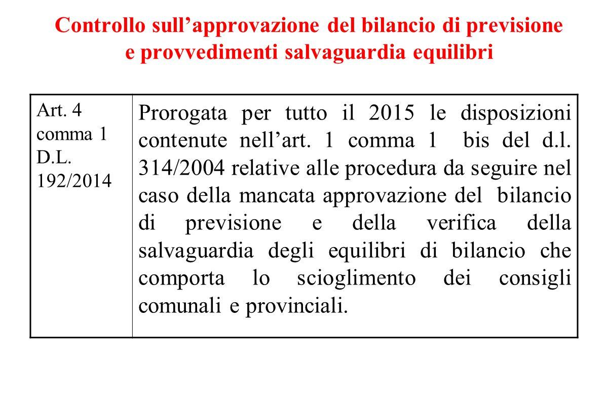 Controllo sull'approvazione del bilancio di previsione e provvedimenti salvaguardia equilibri Art. 4 comma 1 D.L. 192/2014 Prorogata per tutto il 2015
