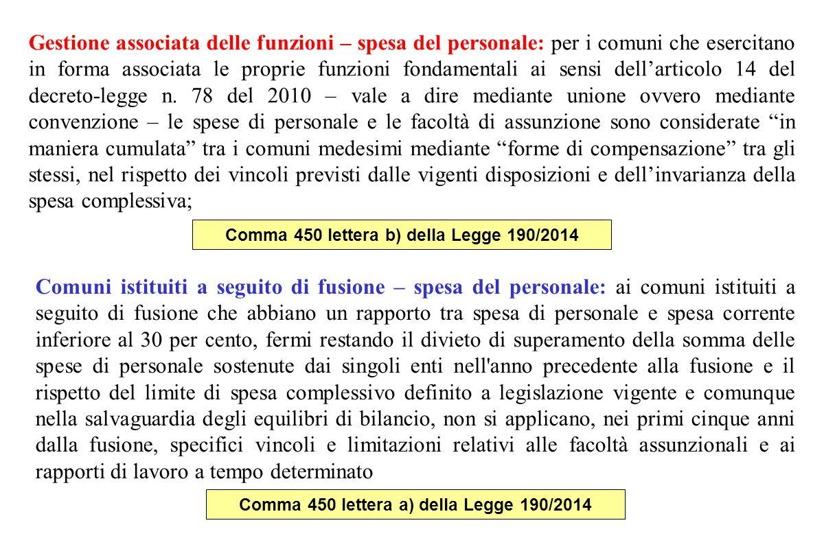 Gestione associata delle funzioni – spesa del personale: per i comuni che esercitano in forma associata le proprie funzioni fondamentali ai sensi dell'articolo 14 del decreto-legge n.