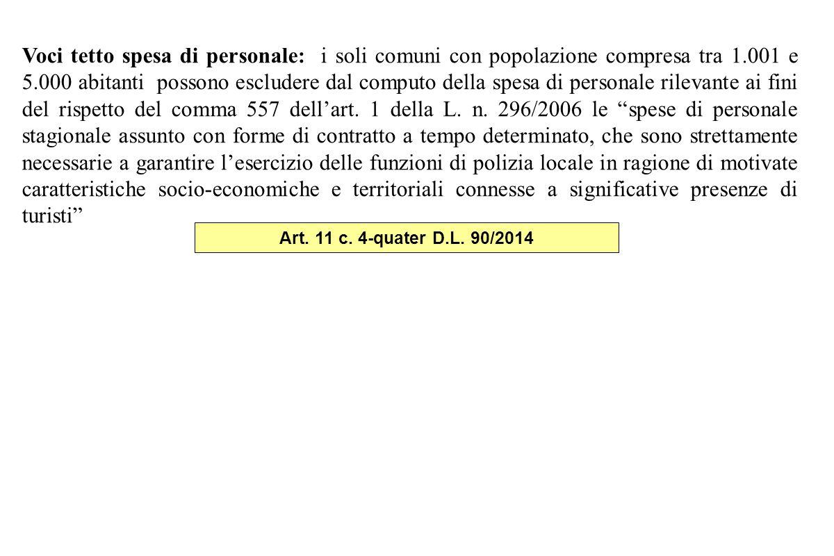 Voci tetto spesa di personale: i soli comuni con popolazione compresa tra 1.001 e 5.000 abitanti possono escludere dal computo della spesa di personale rilevante ai fini del rispetto del comma 557 dell'art.