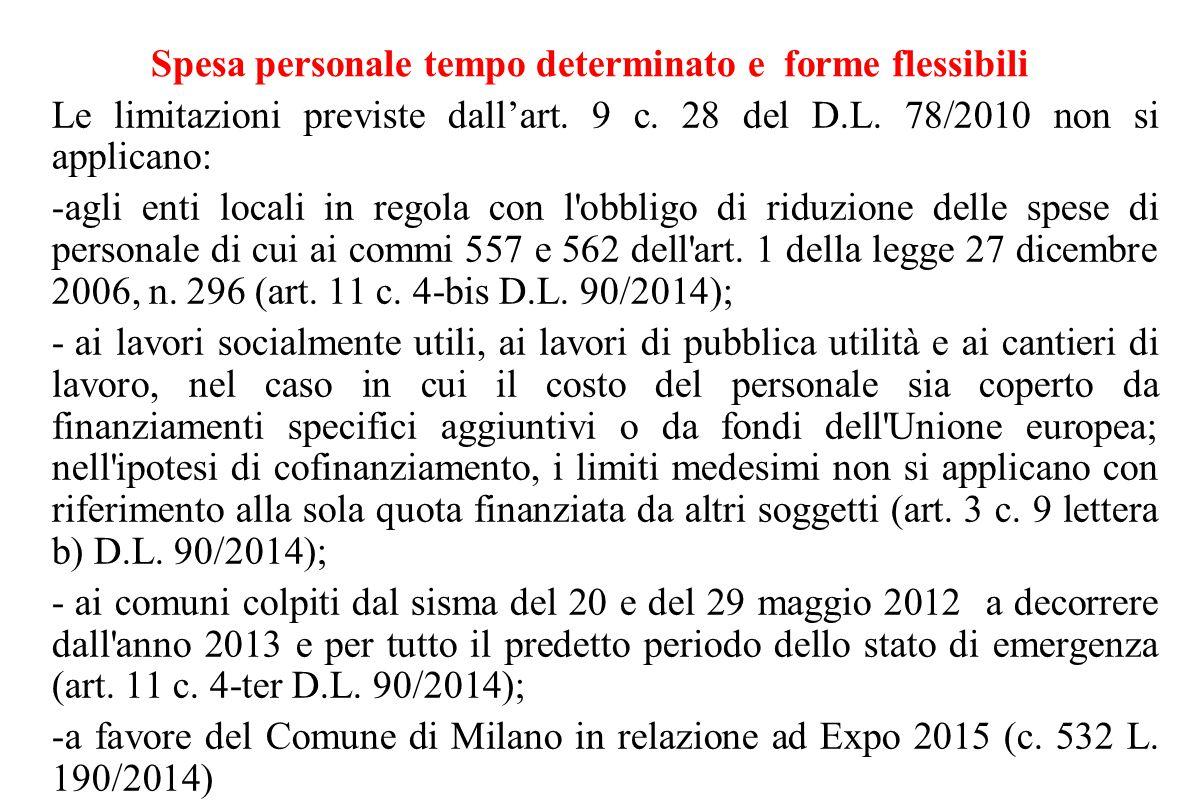 Spesa personale tempo determinato e forme flessibili Le limitazioni previste dall'art. 9 c. 28 del D.L. 78/2010 non si applicano: -agli enti locali in