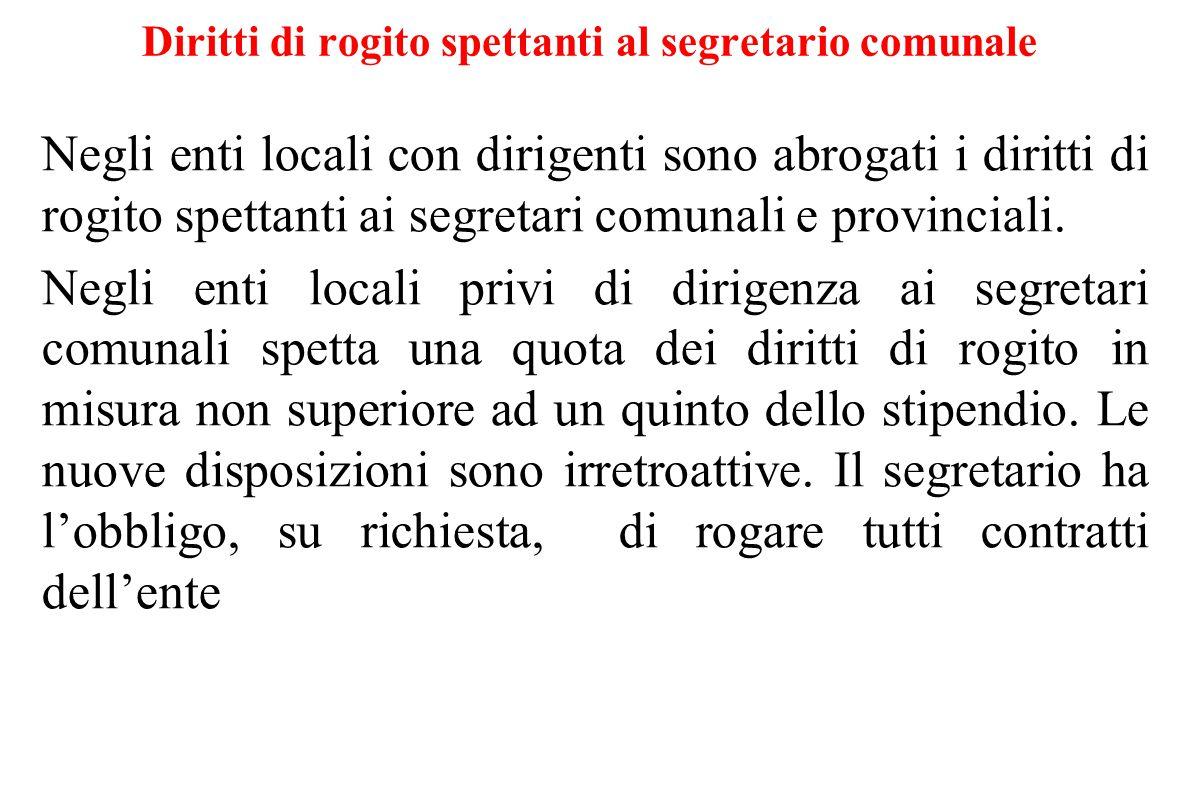 Diritti di rogito spettanti al segretario comunale Negli enti locali con dirigenti sono abrogati i diritti di rogito spettanti ai segretari comunali e